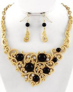 Vintage Gold Swirling Design Black Pearl Crystal Statement Necklace Set Jewelry