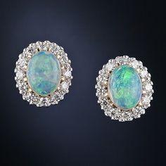 Vintage Style 18k Opal and Diamond Cluster Earrings - 20-1-5081 - Lang Antiques