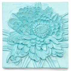 Chrysanthemum Plaque - Aquamarine