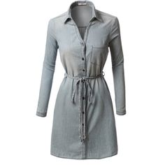 Like an oversized shirt, this chambray button down shirt dress with belt is on trend-versatile.  This dress is left straight and loose for a relaxed vibe but f…