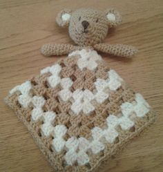 Teddy Bear Security Blanket Baby Lovey by PeachUnicornCrochet