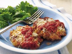 Chicken Cakes Parmigiana    Crispy outside and tender inside, Italian-style chicken cakes go from start to finish in 20 minutes