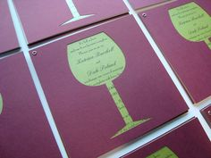 Wine bottle cutout invitations - could be extremely cute for a shower invite!! Pretty simple to make as well! :)