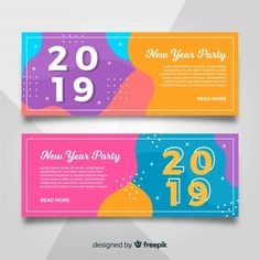 New year 2019 party banners free vector banner vector, web banner, banner d Banner Design Inspiration, Web Banner Design, Web Design, Ticket Design, Flyer Design, Layout Design, Brochure Design, Branding Design, Party Banners