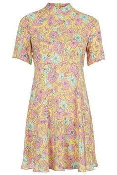 Kaleidoscope Floral Print Silk Dress by Boutique Cheap Wedding Guest Dresses, Cocktail Wedding Attire, Wedding Guest Outfit Inspiration, Forest Green Dresses, 70s Fashion, Silk Dress, Topshop, Floral Prints, Short Sleeve Dresses
