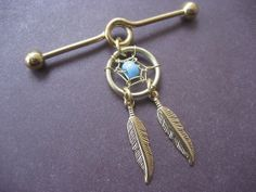 Industrial Piercing Barbell Dream Catcher Charm Gold Tone Turquoise Beaded Dreamcatcher 14 Gauge Bar 14g 14 G Ear Jewelry Earring