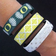 Oregon Ducks Fitbit Cover. NEW! Fitbit Alta, Flex, Charge and ChargeHR Elastic Bands, Set/3: Ducks (OR01), Yellow/Silver Quatrefoil (QF03), White/Silver Dots (PD13) by BananaWindDesign on Etsy