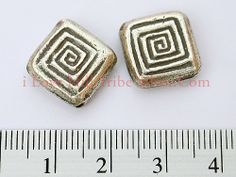 B009-I Love Hill Tribe Silver - Thai Karen Hill Tribe Handmade Silver Hypnotic Square Bead 13x3mm - 5 beads