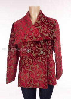 HOLT RENFREW Jacquard Jacket M Med Red Floral Velvet Suede Lined Tapestry Coat #HoltRendrew #BaseballJacket #Evening