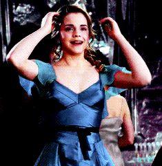 Hermione in her blue dress