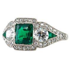 JE CALDWELL Art Deco Emerald Ring thumbnail 1