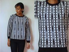 Vtg B&W Tribal Print Retro Knit Sweater by LuluTresors on Etsy, $29.99