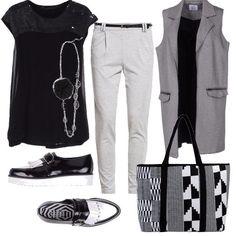 Outfit+sportivo+con+stile,+per+la+donna+a+cui+piace+lo+stile+pratico+ma+allo+stesso+tempo+glamour+e+ricercato.+Maglia+Silvian+Heach+nera+con+paillettes,+pantalone+in+jersey+grey+con+tasche+laterali,+gilet+lungo+in+jersey+grey,+mocassini+sportivi+con+frange+Cult+bianco-nero,+maxi+shopper+in+neoprene+bianco-nero.
