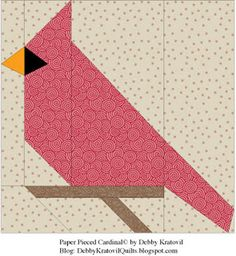 Debby Kratovil Quilts: Cardinals All Through the Year - free paper piecing pattern Paper Piecing Patterns, Quilt Block Patterns, Pattern Blocks, Bird Patterns, Patch Quilt, Quilting Projects, Quilting Designs, Quilting Ideas, Diy Quilt