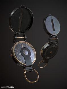 ArtStation - W. & L. E. Gurley lensatic compass, Will Petrosky