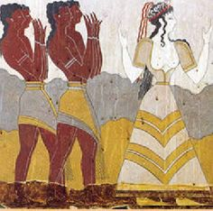 Minoan dress | minoan woman with male attendants -Minoan male's in loin cloths and a woman in a fitted bodice and a skirt with rush bands.