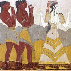 Minoan dress | minoan woman with male attendants