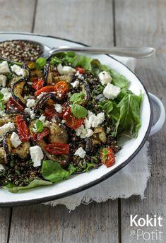 Linssi-munakoisosalaatti fetajuustolla – inspiraation sain Suupaloja-kirjan munakoisonyyteistä.  #salaatti #suupalojakirja