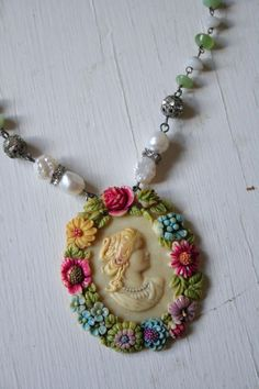 Sweet cameo necklace - could make in polymer clay