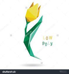 Conceptual Polygonal Flower Tulip Style Low Poly. Volumetric Stylized Element…