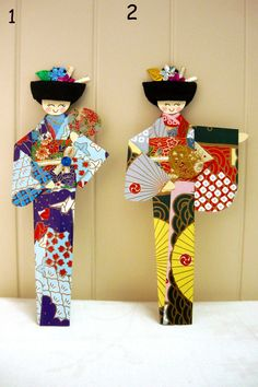 Origami Japanese Girl Geisha Bookmarks (Set of 2) - SALE. $7.92, via Etsy.