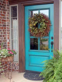 Inspired by an antique cabinet she saw, Beyond the Screen Door blogger and designer Sonya Hamilton painted her own front door a brilliant blue-green and applied a glaze to mute the effect. The color is Sherwin-Williams Nifty Turquoise.