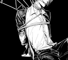 """((Open. Be the gang leader?)) """"Well well. What have we here?"""" I groaned weakly, the ropes tied so tightly that it hurt to even breathe. """"He saw our 'business transaction', boss."""" The man smirked as he walked up, and I tensed. """"Shame you were in the wrong place at the wrong time, hmm?"""" He placed a hand on my thigh. """"But I think I have a use for you, handsome."""" He started to rub my thigh teasingly, and I tried to pull away."""