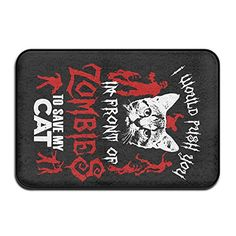Push You In Front Of Zombies Save Cat IndoorOutdoor Doormat 2416 Inch -- For more information, visit image link.Note:It is affiliate link to Amazon.