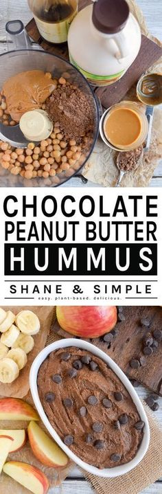 This easy, homemade vegan chocolate hummus is sure to wow your friends. Perfect to dip snacks in such fresh fruit. Healthy substitute for a snack dip. Vegan Sweets, Healthy Desserts, Delicious Desserts, Yummy Food, Vegan Food, Whole Food Recipes, Vegan Recipes, Snack Recipes, Cooking Recipes