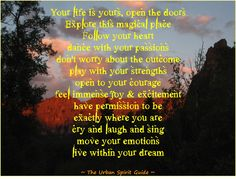 Your life is yours, open the doors Explore this magical place Follow your heart dance with your passions don't worry about the outcome play with your strengths open to your courage feel immense joy & excitement have permission to be exactly where you are cry and laugh and sing move your emotions live within your dream  #TheUrbanSpiritGuide #LiveWithinYourDreams