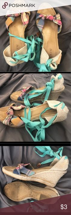 Size 9 Plaid J. Crew Marianne Espadrilles Size 9 J. Crew Plaid Marianne Espadrilles:  3.5inch Heel. Canvas Upper. Mint Green Tie Up Ankle Laces.  They have been worn but have minimal signs of wear & tear. FYI - THESE RUN APPROX. A FULL SIZE SMALLER   Retails: $118  For the Buyer with the First & Best Offer J. Crew Shoes