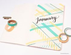 """Here's a super simple idea using washi tape to create a monthly cover page in your planner! 💛 Find it in my Ideas for Washi Tape in Your BuJo"""" vid! Washi Tape Notebook, Bullet Journal Washi Tape, January Bullet Journal, Washi Tape Planner, Bullet Journal Writing, Bullet Journal Inspo, Bullet Journal Layout, Bullet Journal Ideas Pages, Bujo"""