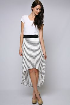 Mila Skirt - Pair this skirt with anything, Flirty, soft knit Skirt with Asymmetrical Hem in a graceful chic Stripe. comfy for summer fun!