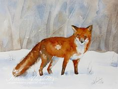 It's Sunday and time for a new watercolor. Today I have two Winter scenes..        I use Winsor Newtons Artists' watercolors and Daniel Smit...