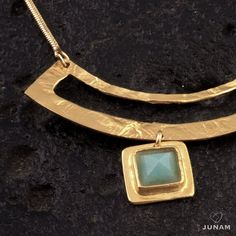 Collar de oro con colgante de forma geométrica circular, piedra Amazonita, cadena cuadrada, bohemio, delicado, cadena de oro llena,