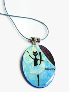 Ballet cat pendant, ballet necklace, lovely cat dancing - pinned by pin4etsy.com