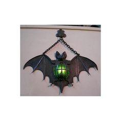 Bat light - make spiders, too, to hang on cemetery gate columns Halloween Fall Halloween, Halloween Crafts, Halloween Decorations, Homemade Halloween, Halloween Ideas, Bat Light, Lampe Metal, Goth Home, Gothic Furniture