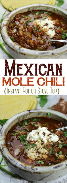 This Mole Chili combines cocoa, zesty salsa and chipotle chili for a delicious recipe that comes together quickly in the Instant Pot or on the Stove Top. # instant pot chili recipe Mole Chile (Instant Pot or Stove Top) Chicken Mole Recipe, Healthy Chicken Recipes, Chili Recipes, Mexican Food Recipes, Crockpot Recipes, Soup Recipes, Cooking Recipes, Gastronomia, Cheeseburgers