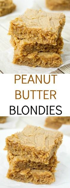 27 Delicious Peanut Butter Dessert Recipes - Captain Decor An easy and delicious peanut butter blondie recipe – you will not miss the chocolate at all. Great peanut butter taste and an ultra-fudgy center. Peanut Butter Blondies Recipe, Peanut Butter Dessert Recipes, Brownie Recipes, Cookie Recipes, Blondies Brownies Recipe, Blondies Cookies, Peanut Butter Squares, Peanut Butter Cookie Bars, Gastronomia