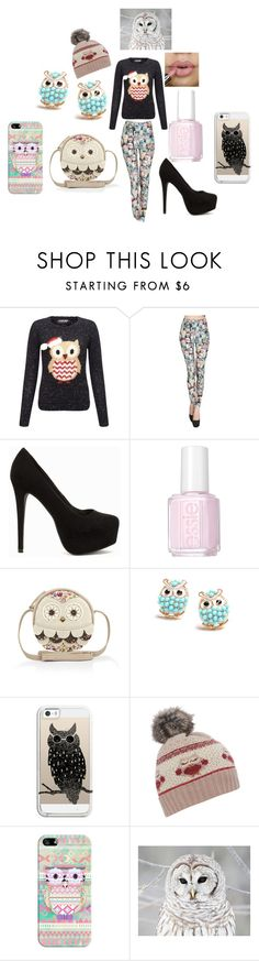 """""""HOOT"""" by aquata11 on Polyvore featuring Lipsy, Nly Shoes, Essie, Monsoon and Casetify"""