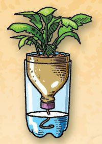 Self-Watering Planter  Cut the top third off a two-liter plastic bottle. Ask an adult to drill a small hole in the cap. Pass a string through the hole. Fill the bottom of the bottle about half way with water. Place the top upside-down in the bottom and put in your plant. The string will wick up the water into the soil.