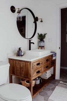 A must-see DIY bathroom remodel that's a lesson in how to transform a dreary space into a dream room with easy bathroom decor updates and budget-friendly hacks. Diy Bathroom Remodel, Bathroom Renos, Bath Remodel, Bathroom Renovations, Bathroom Interior, Master Bathroom, Bathroom Makeovers, Brown Bathroom, Budget Bathroom
