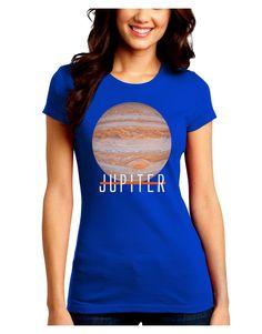 TooLoud Planet Jupiter Earth Text Juniors Petite Crew Dark T-Shirt