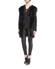 Manami+Reversible+Shearling+Vest,+Luana+Lace-Front+Crepe+Top+&+Sabrina+Snap-Trim+Leather+Ankle+Pants+by+Iro+at+Neiman+Marcus.