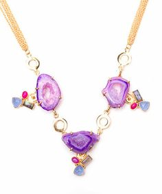 This Gemstone & Gold Gallivanting In The City Statement Necklace is perfect! #zulilyfinds