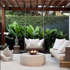 25 Comfy Patio Design Ideas With Style That Can Make Your Backyard More Perfect Backyard Patio Designs, Backyard Landscaping, Landscaping Ideas, Back Gardens, Outdoor Gardens, Outdoor Rooms, Outdoor Living, Balkon Design, Terrace Design