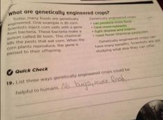 A screenshot of a blatantly biased pro-GMO worksheet submitted by a mother. The textbook company apologized and agreed to change the exercise after a public outcry; read more here.