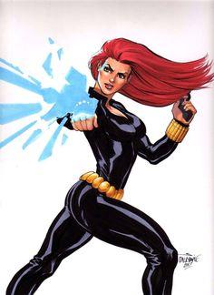 Sexy Black Widow Avengers Winter Soldier Captain America original art Dalrymple | eBay
