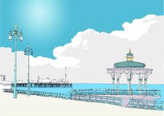 Buy Brighton Bandstand & the Pier by Alej ez now. Highest quality prints with handcrafted framing option, designed onl Brighton Houses, Travel Sketchbook, Ink Pen Drawings, Line Drawing, Taj Mahal, Coast, Yard, Lovely Things, Building