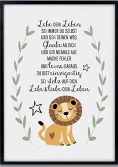 The indicated price Euro) is for a DIN size. If you prefer DI The indicated price Euro) is for a DIN size. If you prefer DI Baby Zimmer, Lion Art, Quotes For Kids, Baby Cards, Artwork Prints, Kids And Parenting, Diy For Kids, Baby Room, Diy Gifts